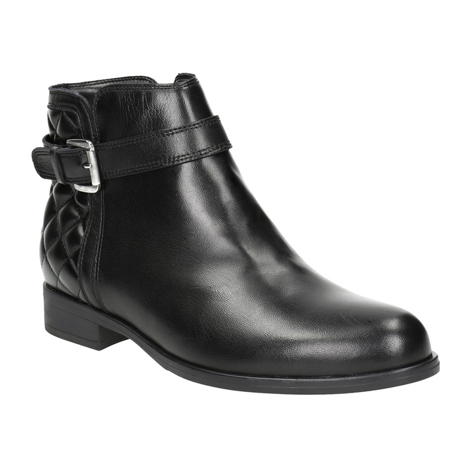 Leather Ankle Boots with Buckle bata, black , 594-6662 - 13