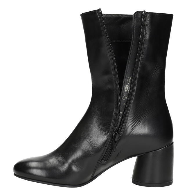 Leather high boots with chunky heel hogl, black , 714-6060 - 17