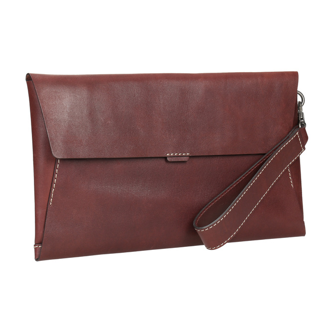 Leather clutch with stitching bata, red , 966-5285 - 13