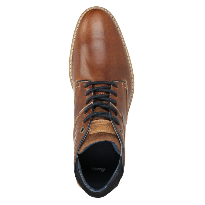 Men's leather ankle boots bata, brown , 826-3925 - 15