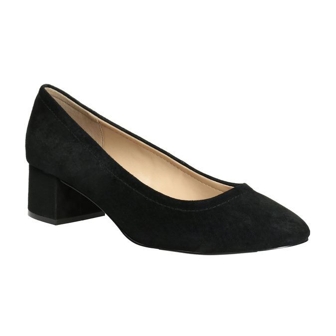 Leather pumps on a stable heel bata, black , 623-6644 - 13