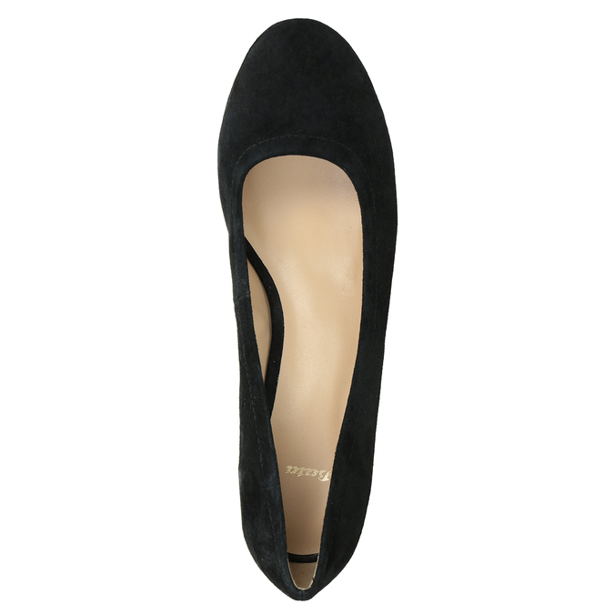 Leather pumps on a stable heel bata, black , 623-6644 - 15
