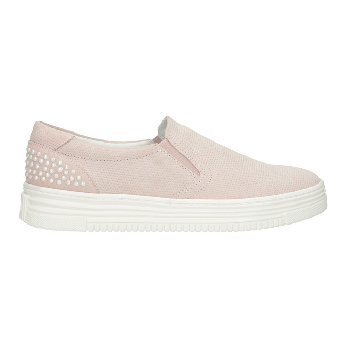 Ladies' leather Slip-on shoes bata, pink , 533-5600 - 26