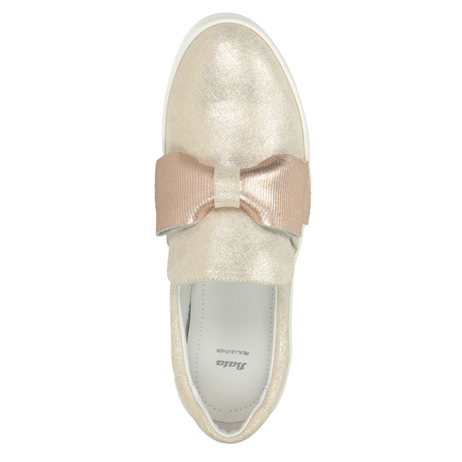 Leather Slip-on shoes with a bow bata, pink , 536-5600 - 15