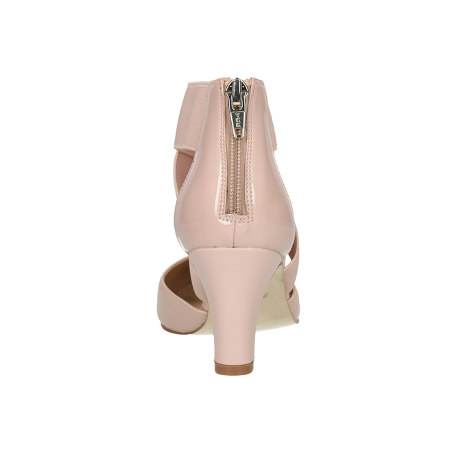 Pinkish cream-colored leather pumps insolia, pink , 624-8643 - 16