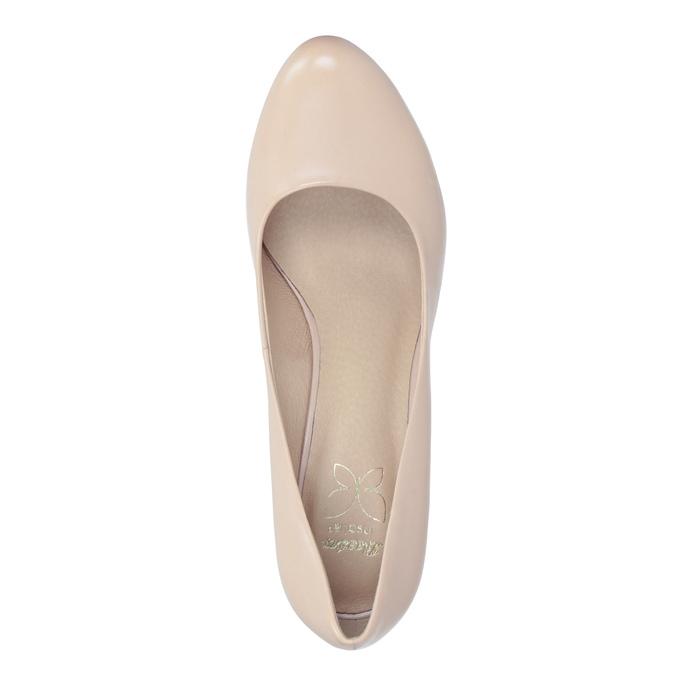 Pinkish cream-colored leather pumps insolia, beige , 724-2104 - 15