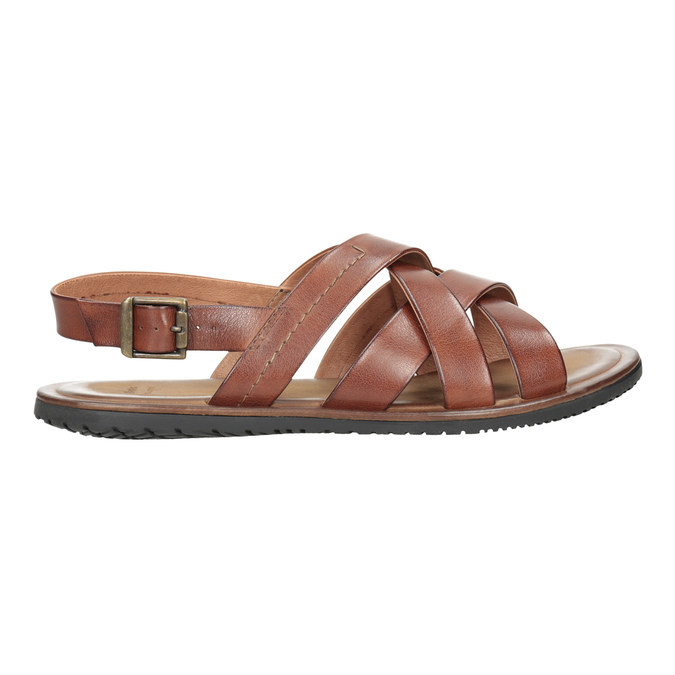 Men's brown leather sandals bata, brown , 866-3602 - 16